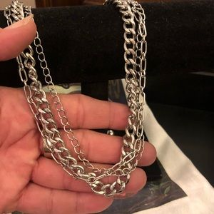 Triple Chain Silver Tone Power Statement Necklace.